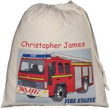 PERSONALISED - FIRE ENGINE - LARGE COTTON DRAWSTRING BAG - PE Kit