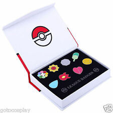 Cosplay Pokemon: Kanto League Gym Badges Set of 8 Metal Pins Gen 1 Brooch + Box