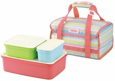 Thermos Bento Lunch Box Container bag Pink stripe Japan