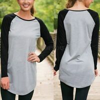 Ladies Casual Long Sleeve Crew Neck Baseball Plus Size T-Shirt Blouse Top Tee