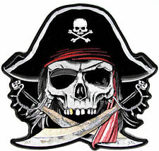 Pirate Skull Cross Bones Biker Quality New Embroidered LARGE BACK Patch LRG-0372