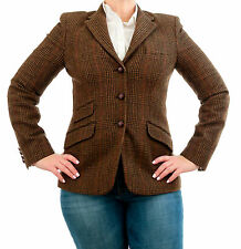 Ralph Lauren Chaps Polo Brown Womens Wool Tweed Hacking Plaid Blazer Jacket Sz 4