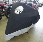 Deluxe all season Motorcycle cover SKULL logo in Black. Fits up to 108""