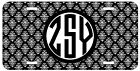 Personalized Monogrammed Damask Black License Plate Custom Car Tag L400