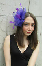 Large Purple Black Net Feather Fascinator Races Vintage Hair Clip Hat 1940s W52