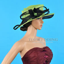 Wedding Featherd Fascinators Church Hat Kentucky Derby Wide Brim Green&Black Hat