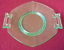 GREEN VINTAGE OCTOGON DEPRESSION GLASS TRAY WITH HANDLES
