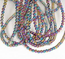 3MM TITANIUM RAINBOW HEMATITE GEMSTONE RAINBOW ROUND 3MM LOOSE BEADS 15.5""