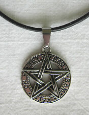 Silver Pentagram Pendant on Leather Necklace - TET RAG RAM MAY ON - Satan Devil