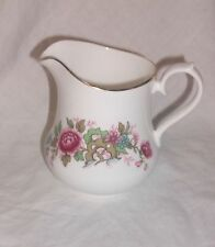 QUEEN ANNE BEAUTIFUL VINTAGE MILK JUG PIK FLORAL EDGED IN GOLD