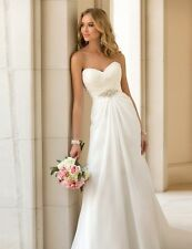 New Chiffon White/Ivory Bridal Gown Wedding Dress Custom Size 4-6-8-10-12-14-16+