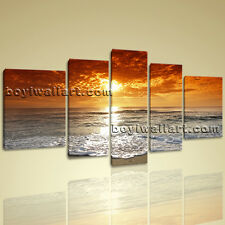 Large Hd Canvas Print 5 Pieces Framed Beach Wall Art Sunset Seascape Sea Wave