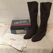 Arche Ladies Brown Nubuck Knee High Wedge Boots. Size 8 (EUR41)