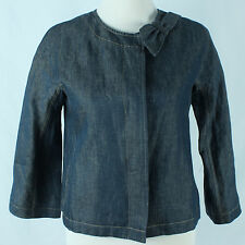 New Talbots Linen Womens Jacket Size 2 NWT Jackie Fit Cropped Bow Chambray
