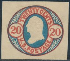 #U42 VF UNUSED CUT SQUARE 20¢ RED & BLUE, BUFF CV $250 BS9518