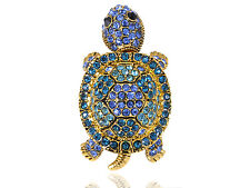 Retro Gold Tone Blue Green Wiggle Baby Turtle Tortoise Crystal Rhinestone Ring