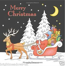 Merry Christmas Adult Colouring Book Black Backgrounds Festive Tree Santa Gift