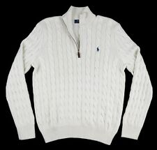 New Men's POLO RALPH LAUREN RL Ivory 100% Silk 1/4 Zip Cable Knit Sweater M NWT!