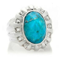 NEW HSN Sally C Treasures Oval Turquoise White Topaz Sterling Silver Ring 7