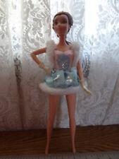Barbie in ice skating costume brown braid hair