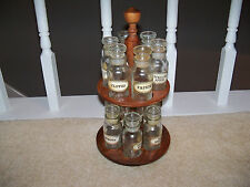 VINTAGE LAZY SUSAN WOOD REVOLVING SPICE RACK HOLDER with 12 Glass Jars Japan