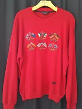 Men's PAUL & SHARK yachting red sweater Sz L embroidered flags wool blend Italy