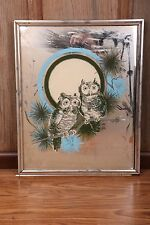 "Vintage Retro Owl Framed Mirror Painting On Glass Art Collectible 17"" x 21"""