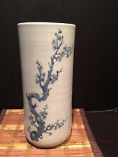 "Asian Hand Painted Porcelain Vase Cherry Blossom Marked 13""x5 5/8"""