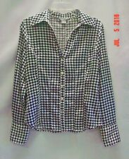 Renuar Career Polyester Blnd Black White Houndstooth Long Sleeve Button Blouse S