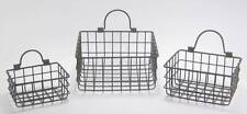 Small Metal Wire Hanging Basket Wall Pocket Organizer Rustic Country Style Set 3