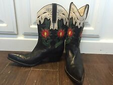 Women's GUESS Cowboy Posh Western Boots 9 Leather Floral Heel Black Riding Shoes
