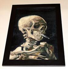 """VAN GOGH """"Skull with Burning Cigarett"""", framed, CANVAS PRINT painting copy"""