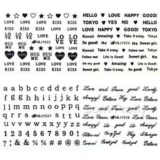 12 Sheets/Set 3D Nail Art Black Love Letter Heart Smile Face Stickers Decals