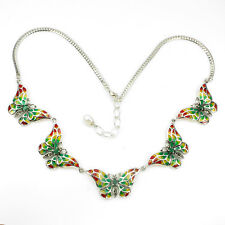 Sterling Silver 925 Genuine Multicoloured Butterfly & Emerald Necklace 18 - 20""