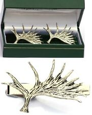 Moose Elk Antler Horn Cufflinks & Tie Clip Bar Slide Tack Mens Set Hunting Gift