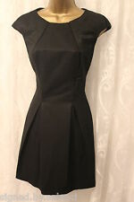 Karen Millen Structured Bubble Hem Pleat Fold Panel Black Party Dress 14 42