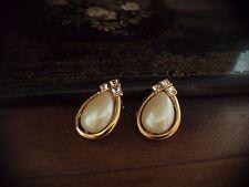 Vintage Lágrima barroco perla y cuadrado Chapado en Oro Cristal Pendientes De Clip
