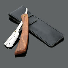 Wood Handle Straight Stainless Steel Razor Blades Barber Folding Shaving Knife