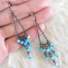Cute Lovely Anti-Black Color Chains Blue Beads Dangle Drop Chandelier Earrings