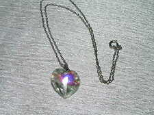 Vintage Silvertone Chain with Faceted Crystal Heart Pendant Necklace – chain is