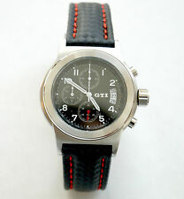 VW Volkswagen Golf GTI Watch Men`s Women`s Chronograph / Carbon Leather