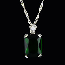 Brass Pendant Rectangle Green Emerald 18K White Gold Plated CZ Necklace Chain