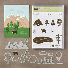 "Stampin Up ""ALWAYS AN ADVENTURE"" Clear Stamp Set & Outdoor Adventure Framelits"
