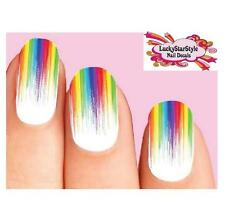 Waterslide Nail Decals Set of 10 - Colorful Rainbow Paint Drip Dripping Full