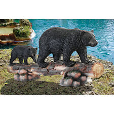 Playful Black Bear Mother & Cub on Log Sculpture Garden Statue