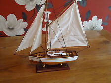 Model Yacht On Stand Hand Made Wooden -maritime Ship Boat