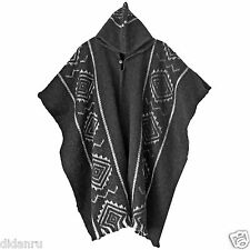 LLAMA WOOL MENS UNISEX HOODED HANDWOVEN SOUTH AMERICAN PONCHO CAPE COAT JACKET
