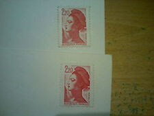 2 x 1980's FRANCE UNPOSTED POSTCARDS WITH UNUSED 1983 LIBERTE 2.2 FRANCS STAMPS