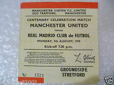 1978 Ticket MANCHESTER UNITED v REAL MADRID, 7 Aug (Centenary Celebration Match)