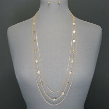 Long Gold Multi Layered Chain Designer Inspired Pendants Necklace With Earrings